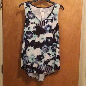 FILA size XL blue colors floral racerback top NWT